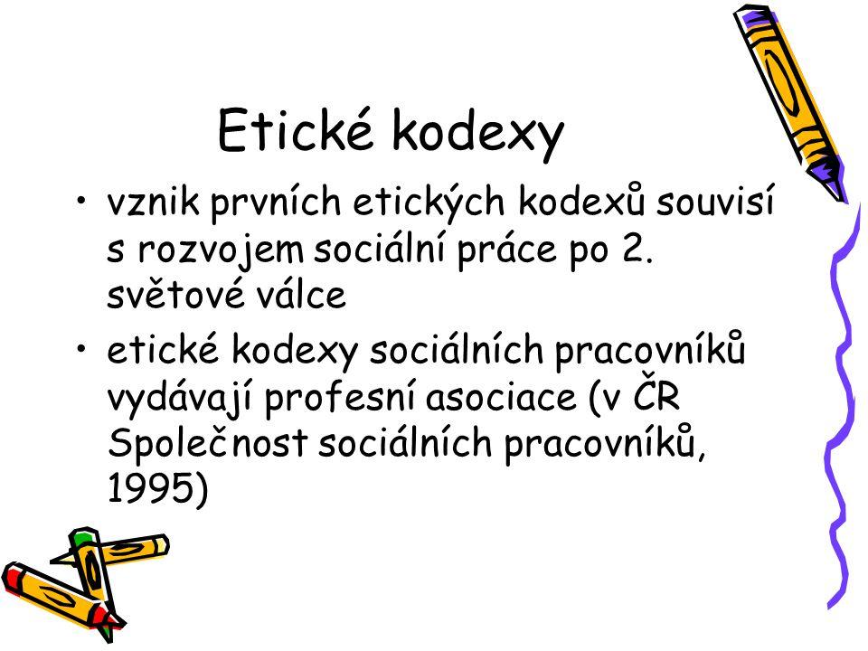 Etické kodexy vznik prvních etických kodexů souvisí s rozvojem sociální práce po 2. světové válce.