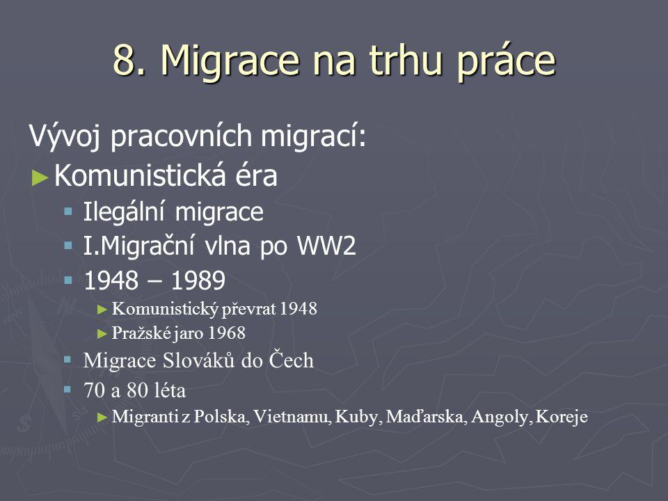 8. Migrace na trhu práce Vývoj pracovních migrací: Komunistická éra
