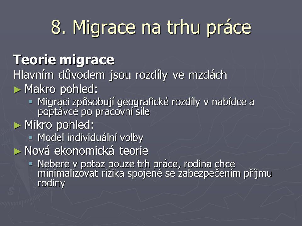 8. Migrace na trhu práce Teorie migrace