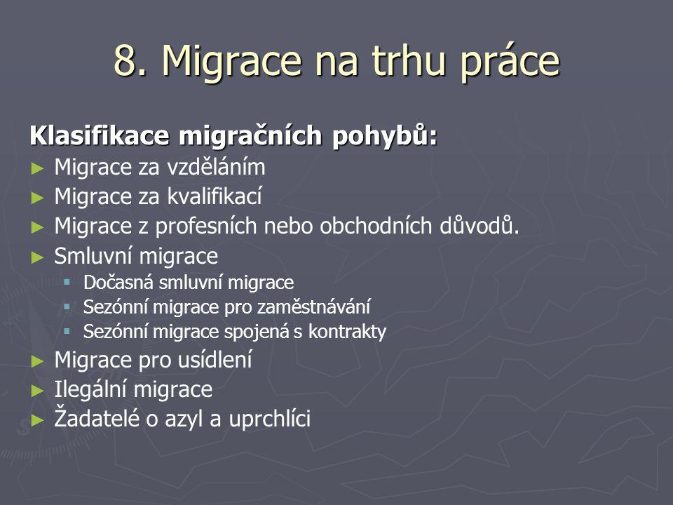 8. Migrace na trhu práce Klasifikace migračních pohybů: