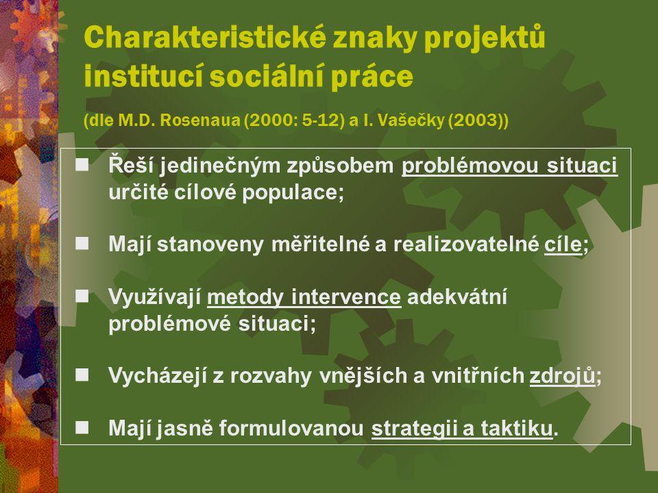 Charakteristické znaky projektů institucí sociální práce (dle M. D