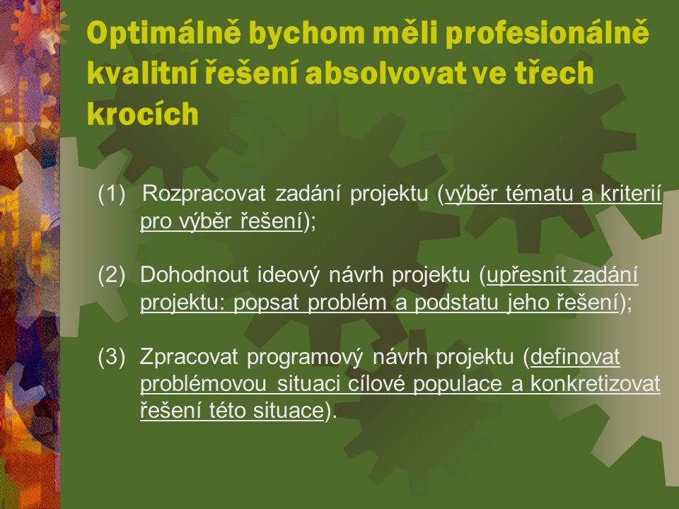 Optimálně bychom měli profesionálně kvalitní řešení absolvovat ve třech krocích