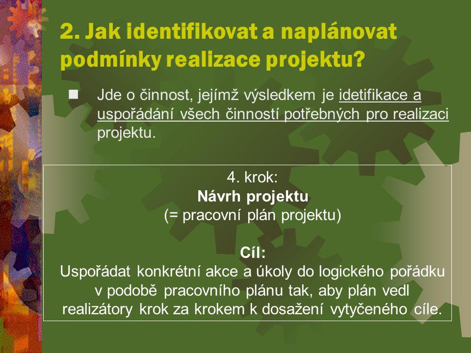2. Jak identifikovat a naplánovat podmínky realizace projektu