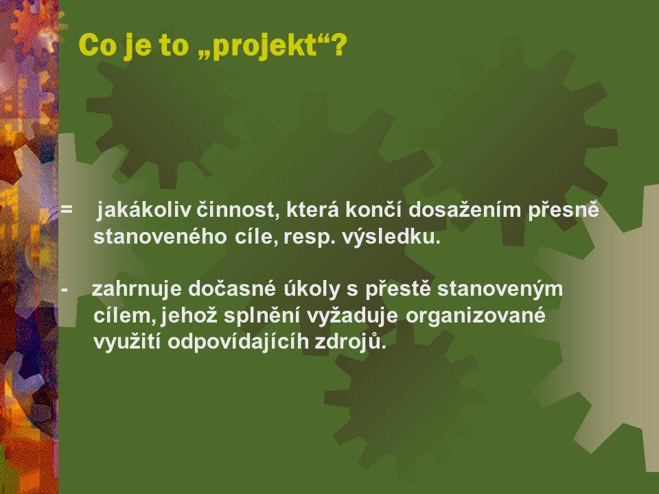 """Co je to """"projekt = jakákoliv činnost, která končí dosažením přesně stanoveného cíle, resp. výsledku."""