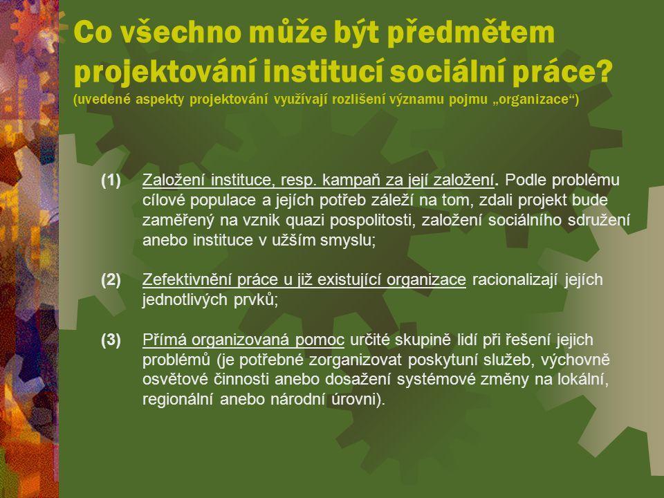 Co všechno může být předmětem projektování institucí sociální práce