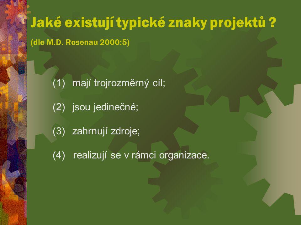 Jaké existují typické znaky projektů (dle M.D. Rosenau 2000:5)