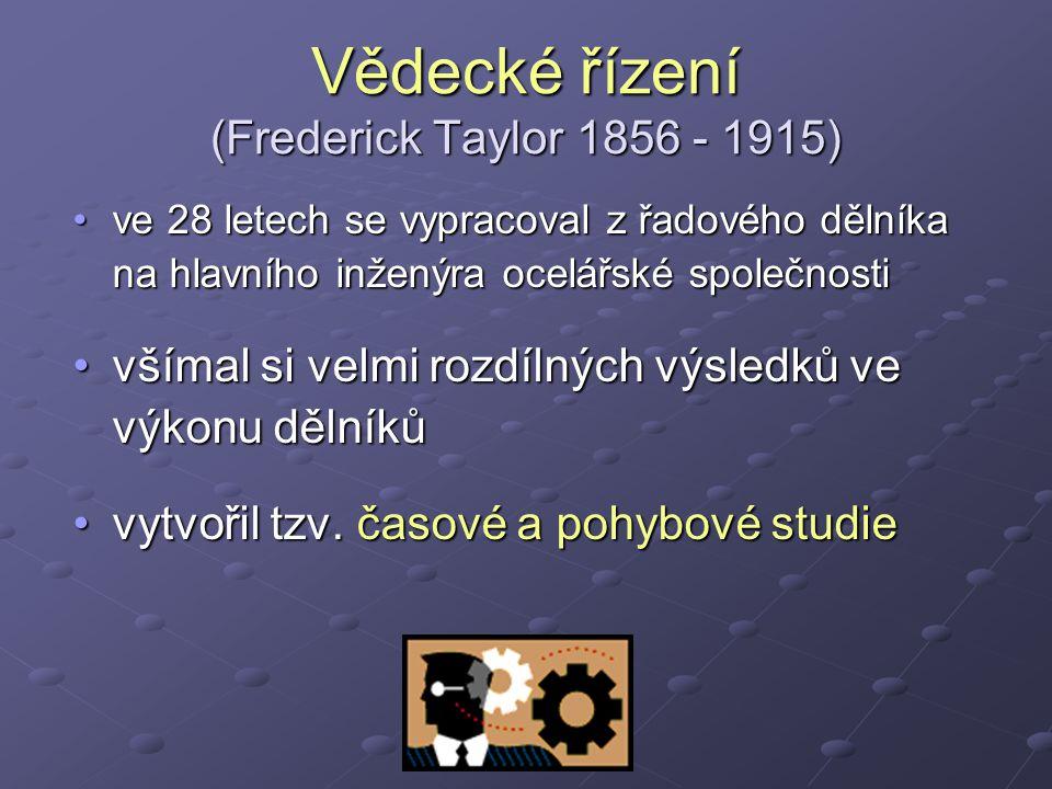 Vědecké řízení (Frederick Taylor 1856 - 1915)