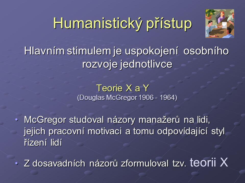 Humanistický přístup Hlavním stimulem je uspokojení osobního rozvoje jednotlivce.