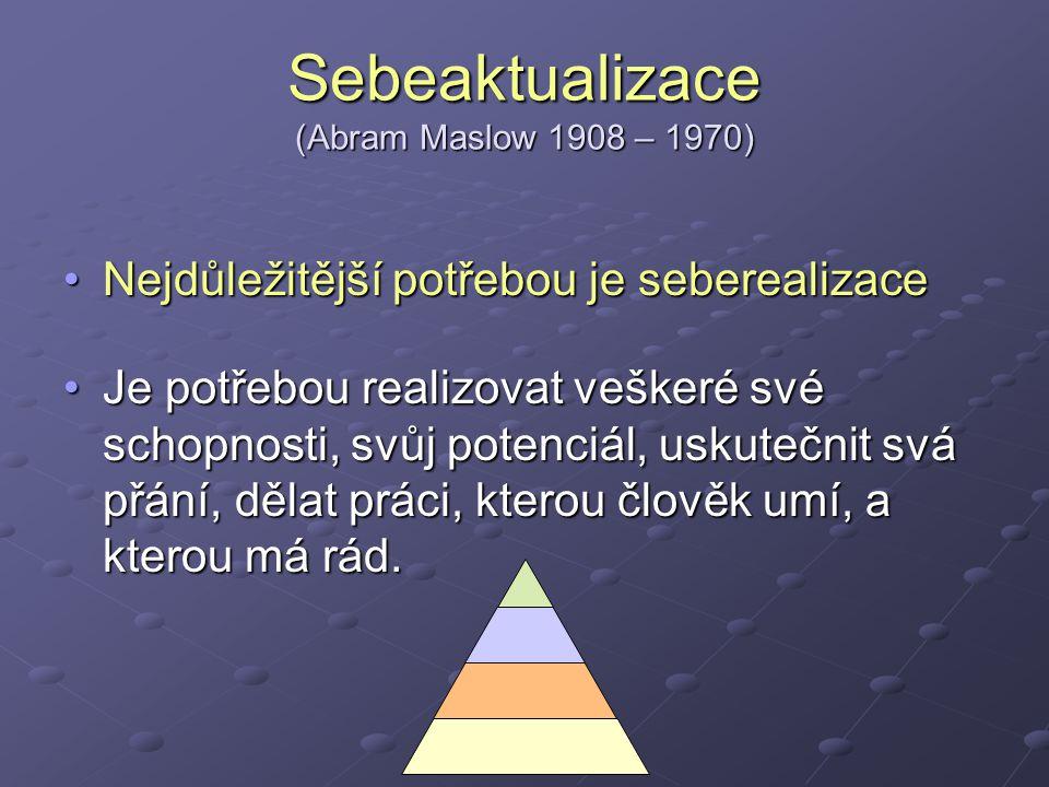 Sebeaktualizace (Abram Maslow 1908 – 1970)