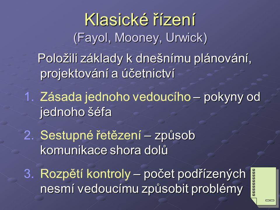 Klasické řízení (Fayol, Mooney, Urwick)