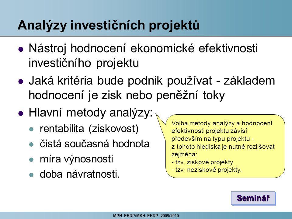 Analýzy investičních projektů