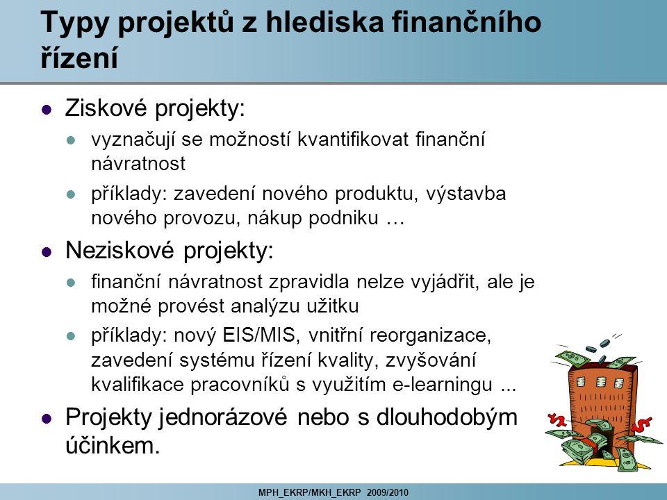 Typy projektů z hlediska finančního řízení