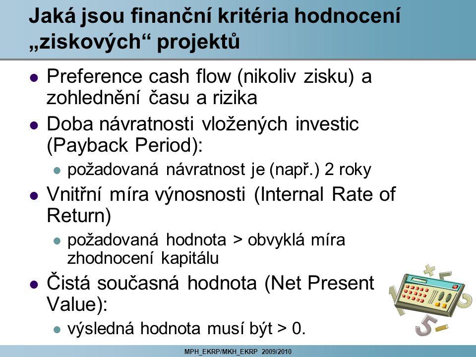 """Jaká jsou finanční kritéria hodnocení """"ziskových projektů"""