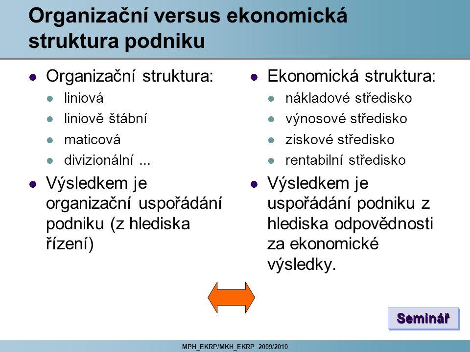 Organizační versus ekonomická struktura podniku