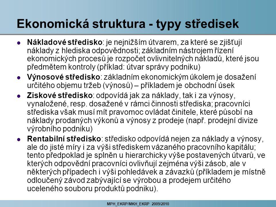 Ekonomická struktura - typy středisek