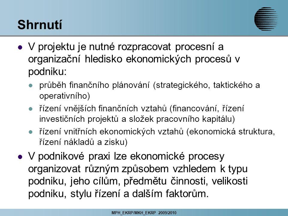 Shrnutí V projektu je nutné rozpracovat procesní a organizační hledisko ekonomických procesů v podniku: