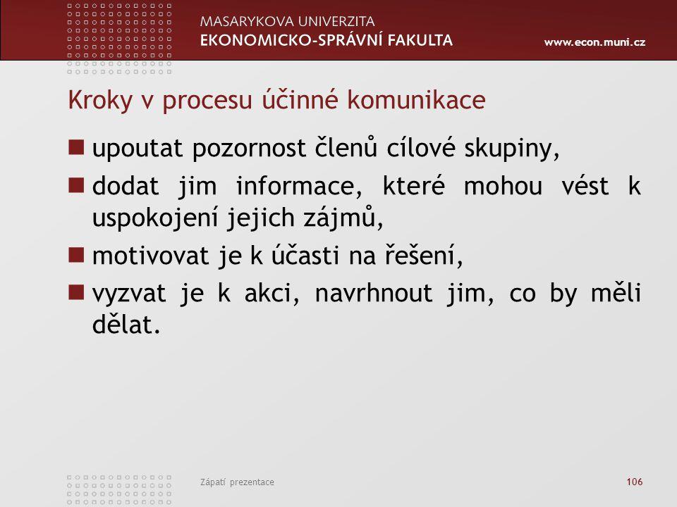 Kroky v procesu účinné komunikace