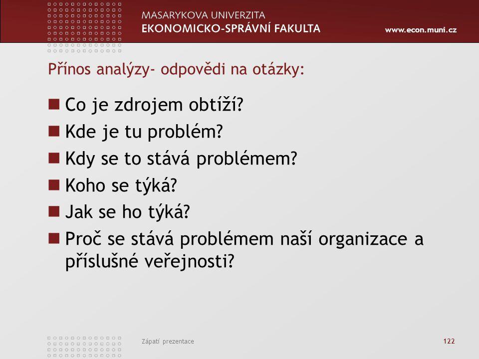 Přínos analýzy- odpovědi na otázky: