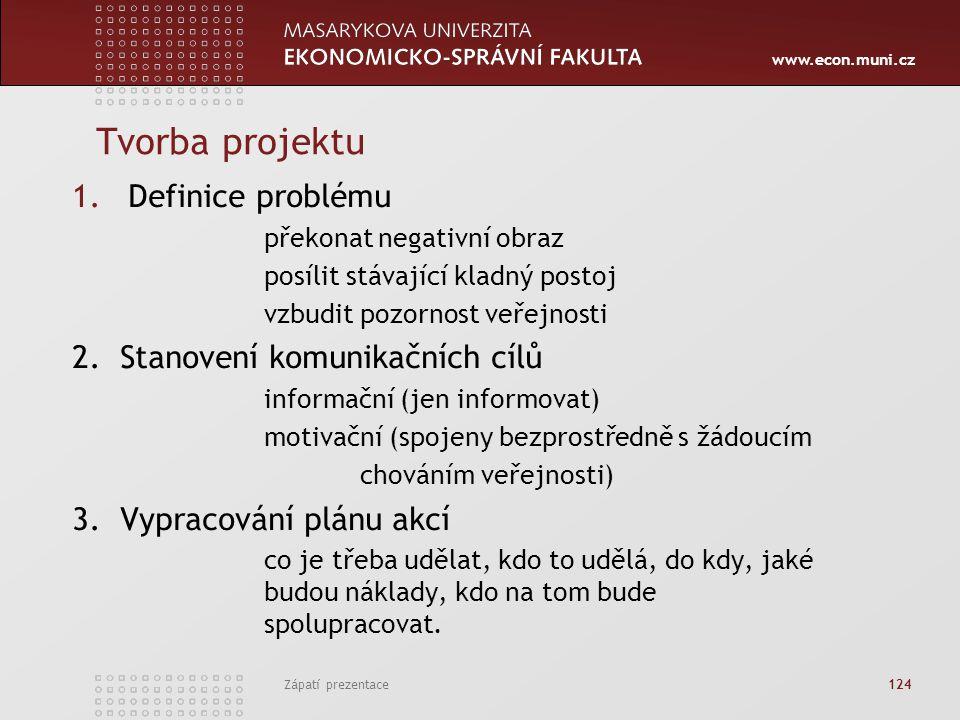 Tvorba projektu Definice problému 2. Stanovení komunikačních cílů