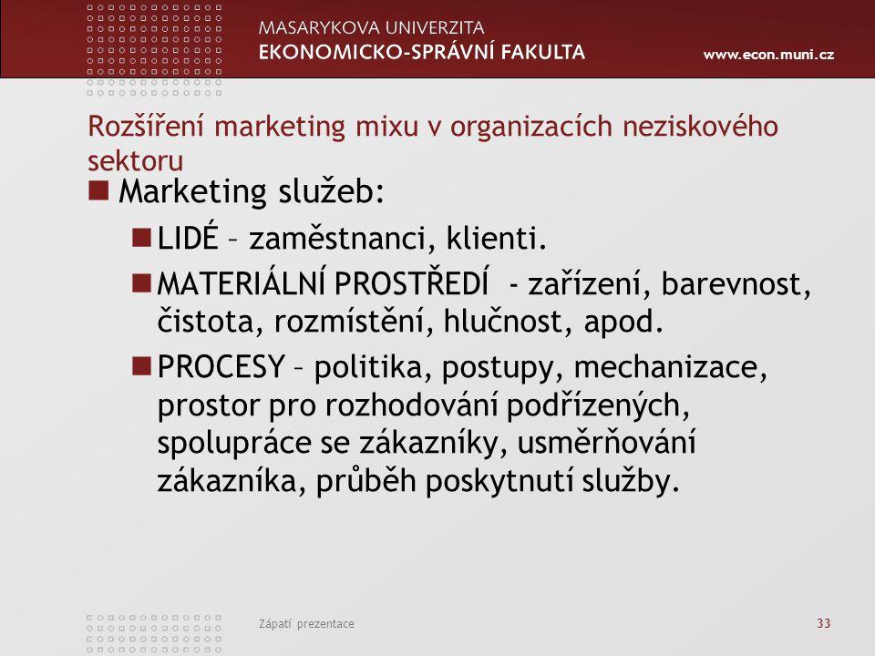 Rozšíření marketing mixu v organizacích neziskového sektoru
