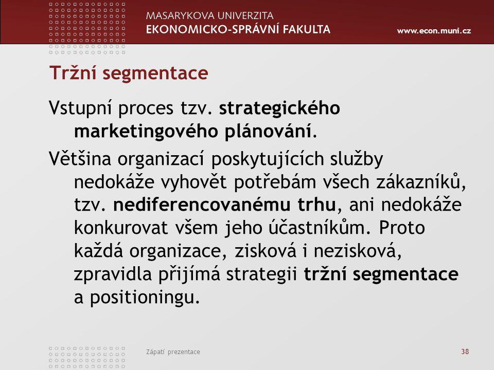 Vstupní proces tzv. strategického marketingového plánování.