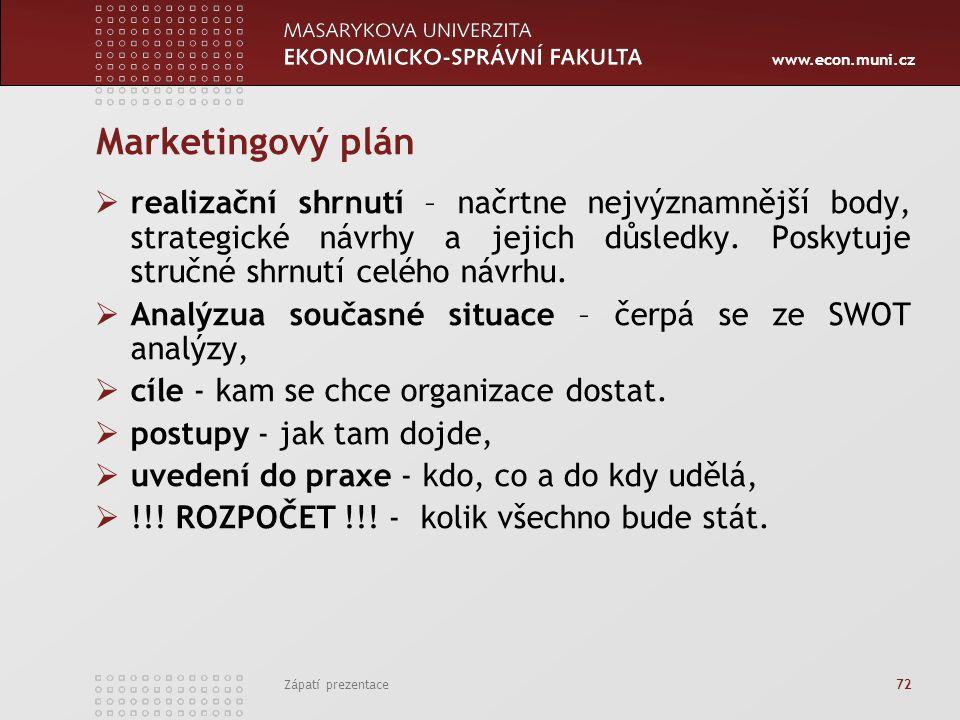 Marketingový plán realizační shrnutí – načrtne nejvýznamnější body, strategické návrhy a jejich důsledky. Poskytuje stručné shrnutí celého návrhu.