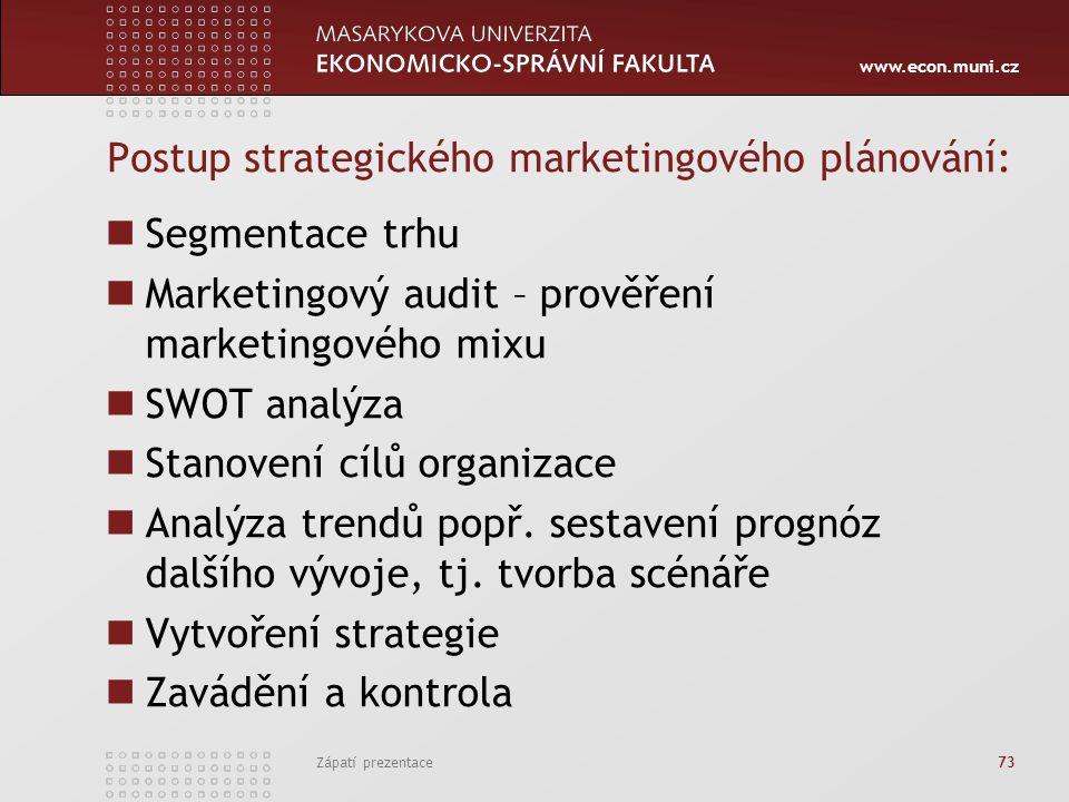Postup strategického marketingového plánování: