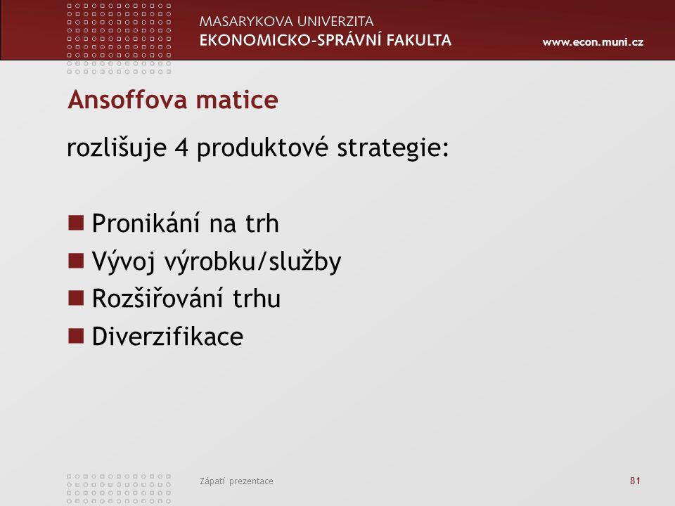 rozlišuje 4 produktové strategie: Pronikání na trh