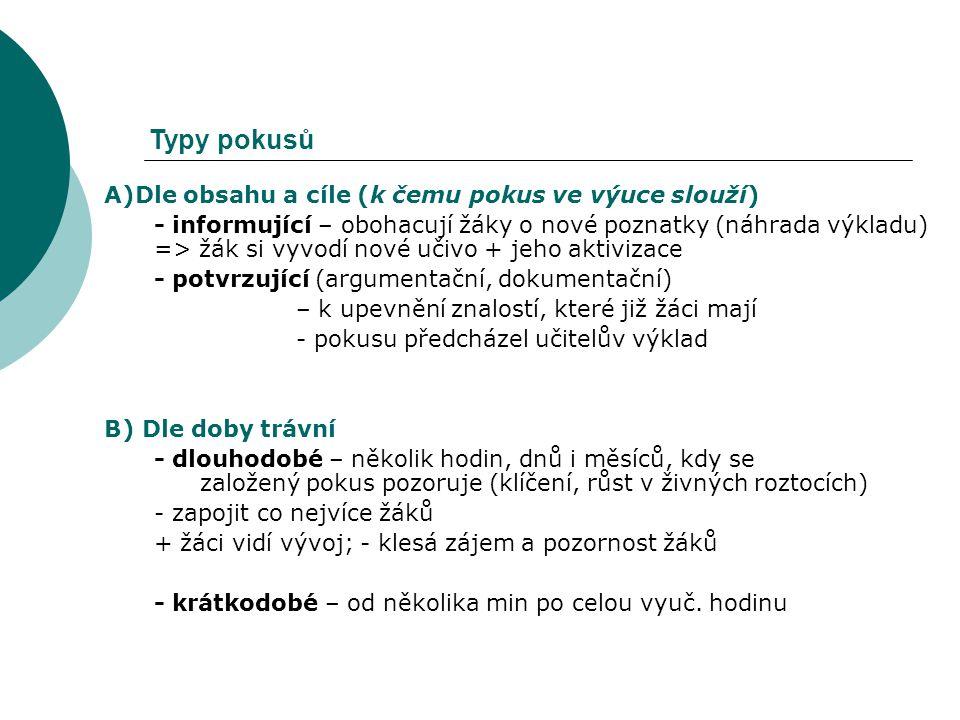 Typy pokusů A)Dle obsahu a cíle (k čemu pokus ve výuce slouží)