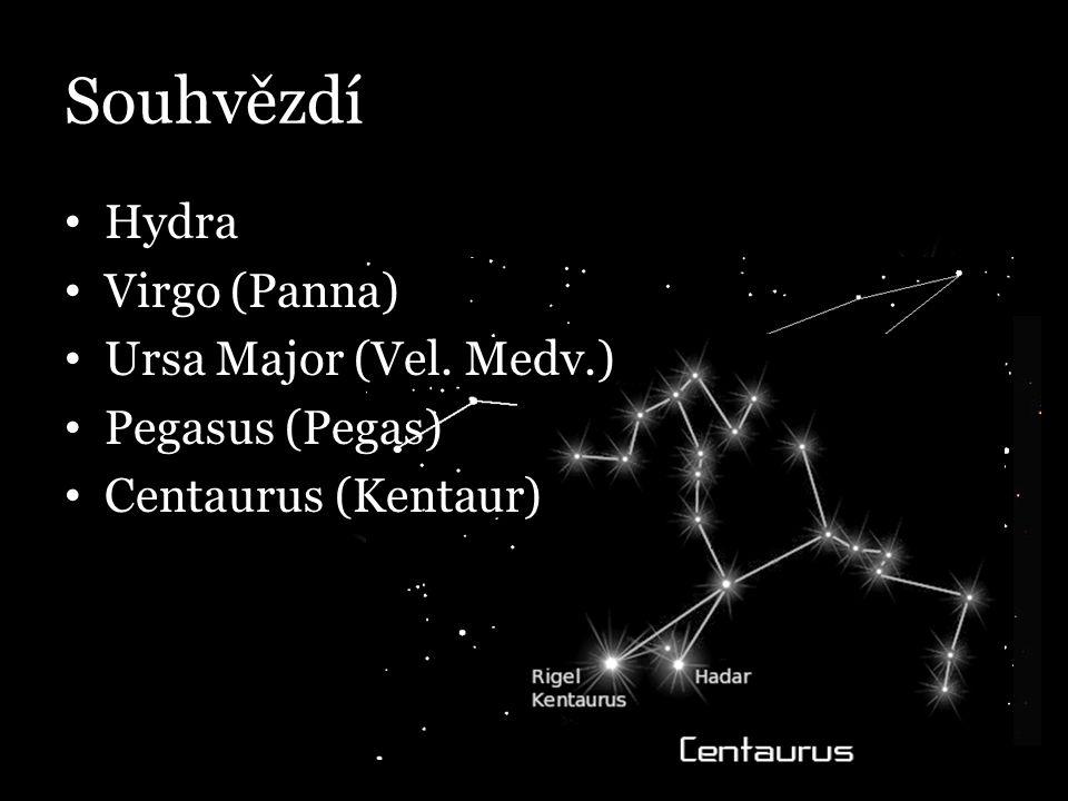 Souhvězdí Hydra Virgo (Panna) Ursa Major (Vel. Medv.) Pegasus (Pegas)