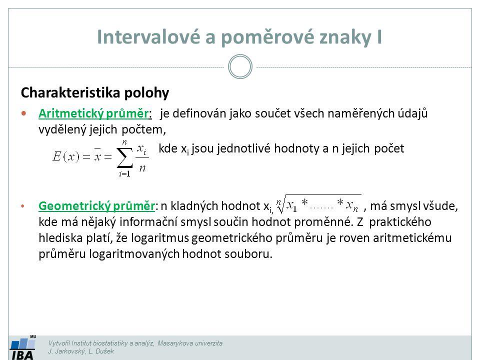 Intervalové a poměrové znaky I