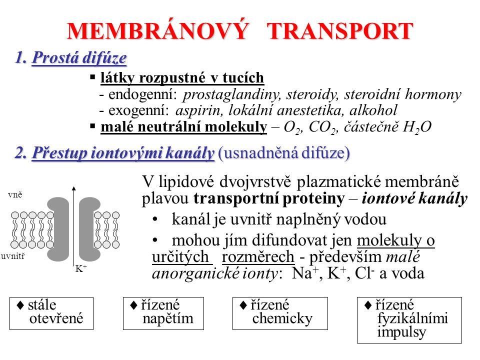 MEMBRÁNOVÝ TRANSPORT 1. Prostá difúze