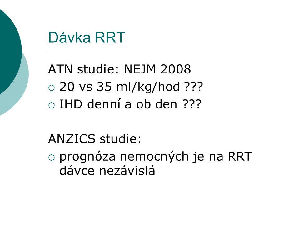Dávka RRT ATN studie: NEJM 2008 20 vs 35 ml/kg/hod