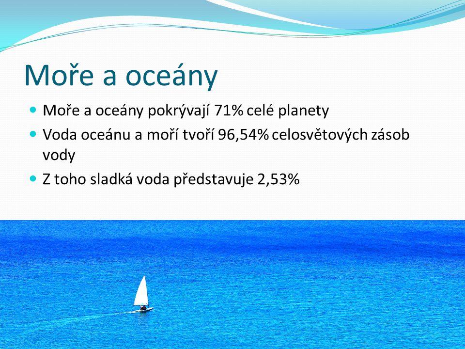 Moře a oceány Moře a oceány pokrývají 71% celé planety