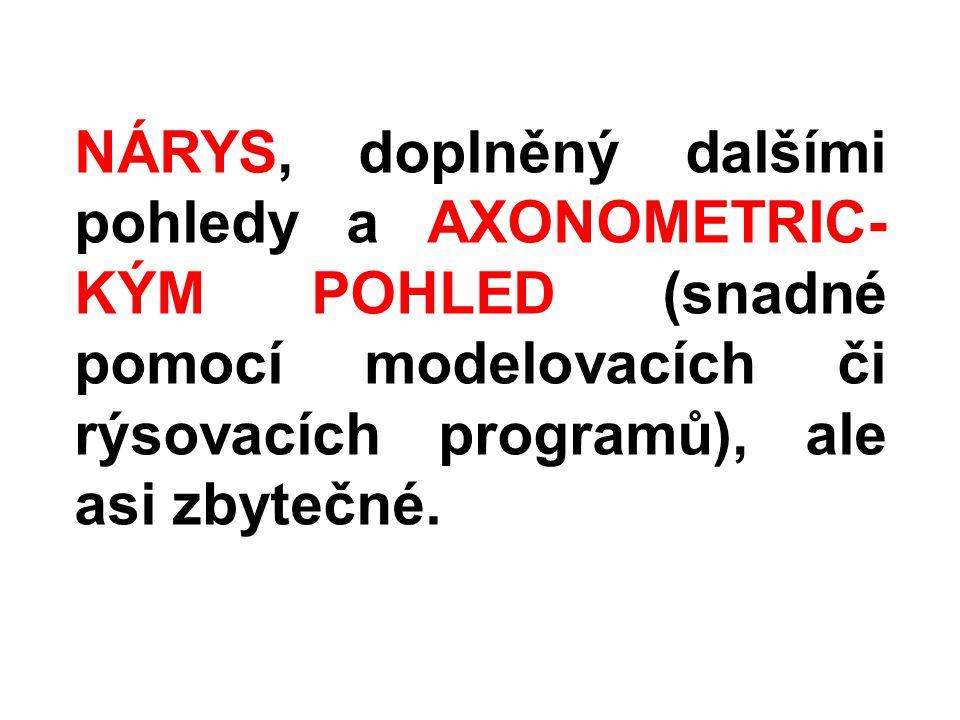 NÁRYS, doplněný dalšími pohledy a AXONOMETRIC-KÝM POHLED (snadné pomocí modelovacích či rýsovacích programů), ale asi zbytečné.