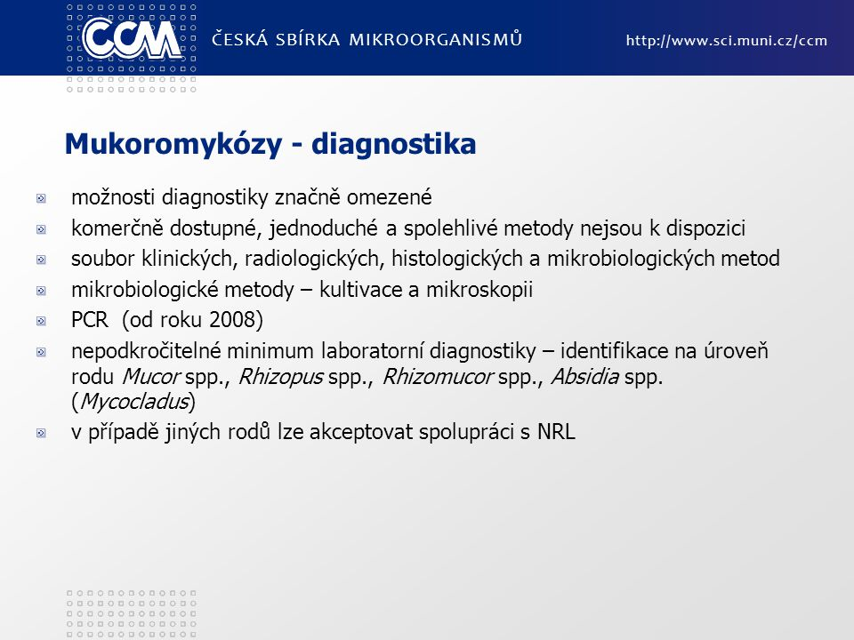 Mukoromykózy - diagnostika