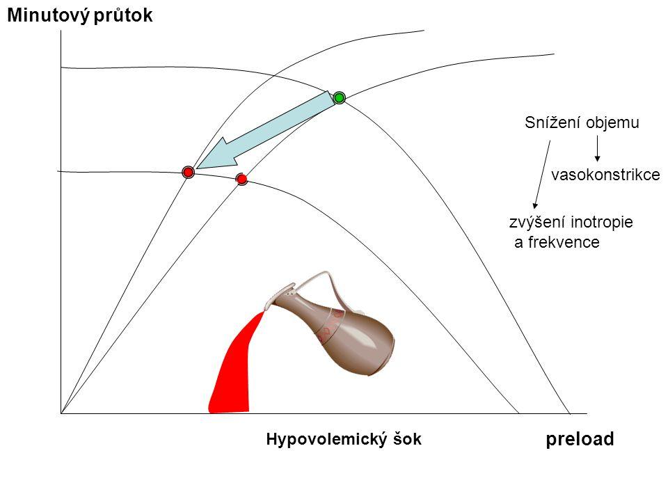 Minutový průtok preload Snížení objemu vasokonstrikce