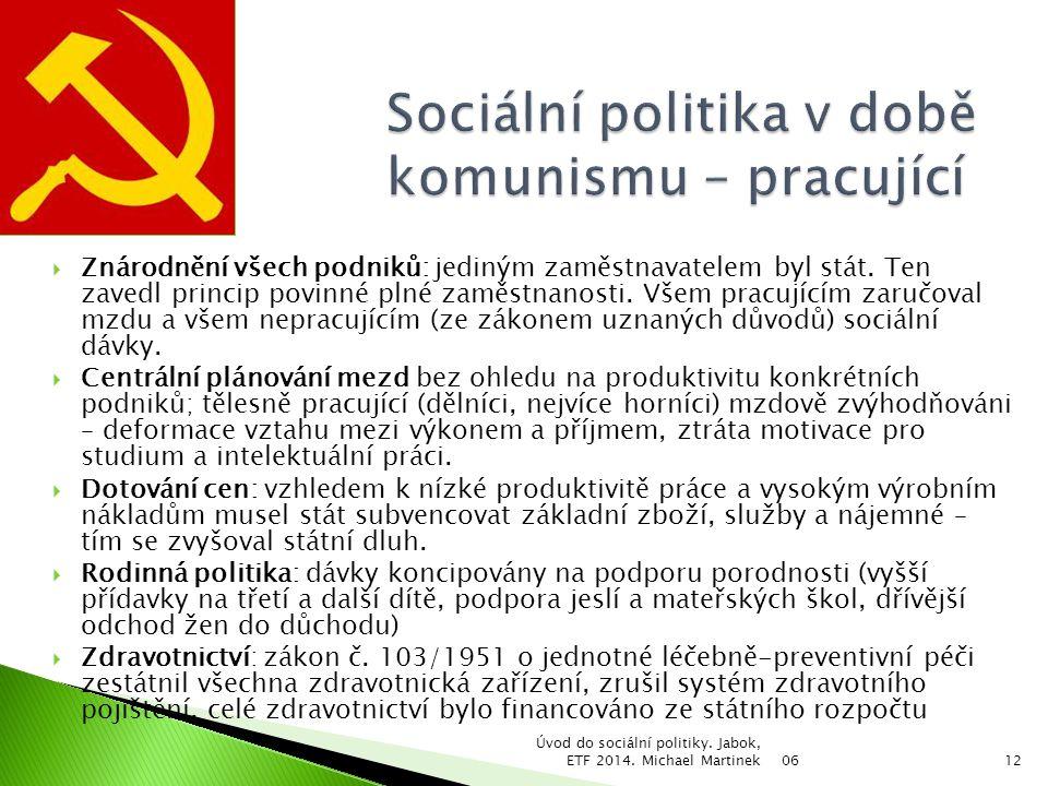 Sociální politika v době komunismu – pracující