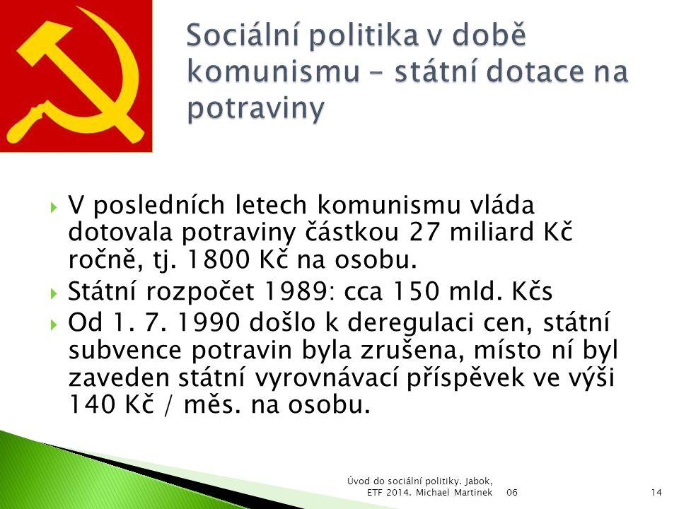 Sociální politika v době komunismu – státní dotace na potraviny