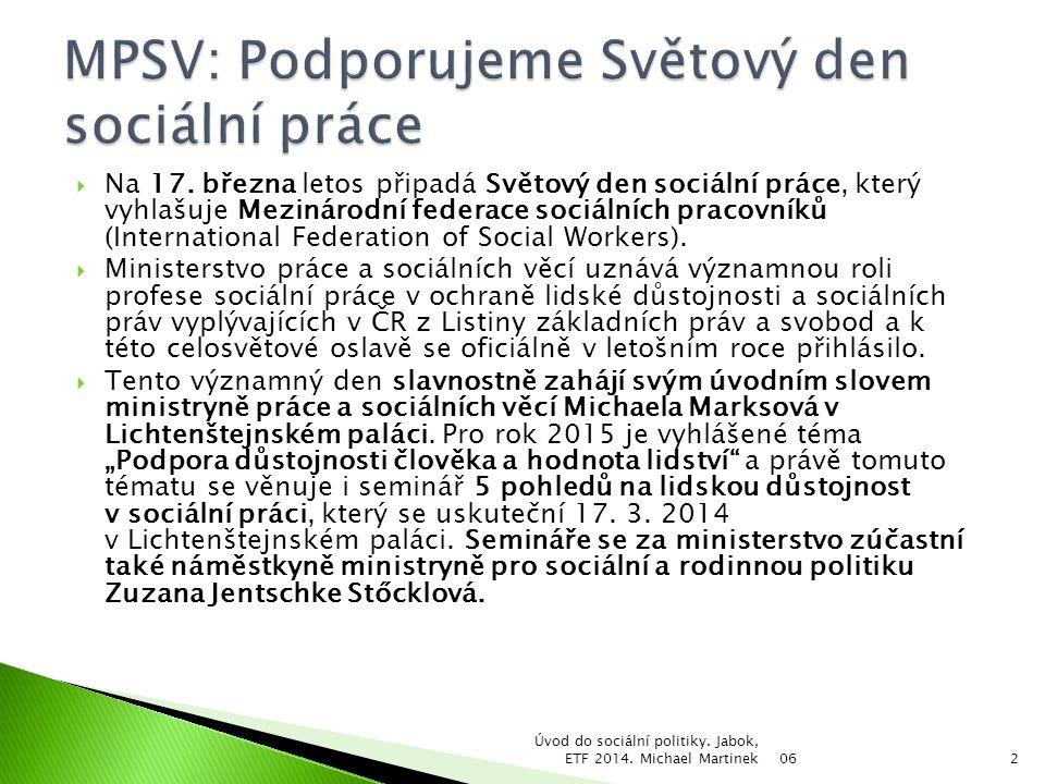 MPSV: Podporujeme Světový den sociální práce