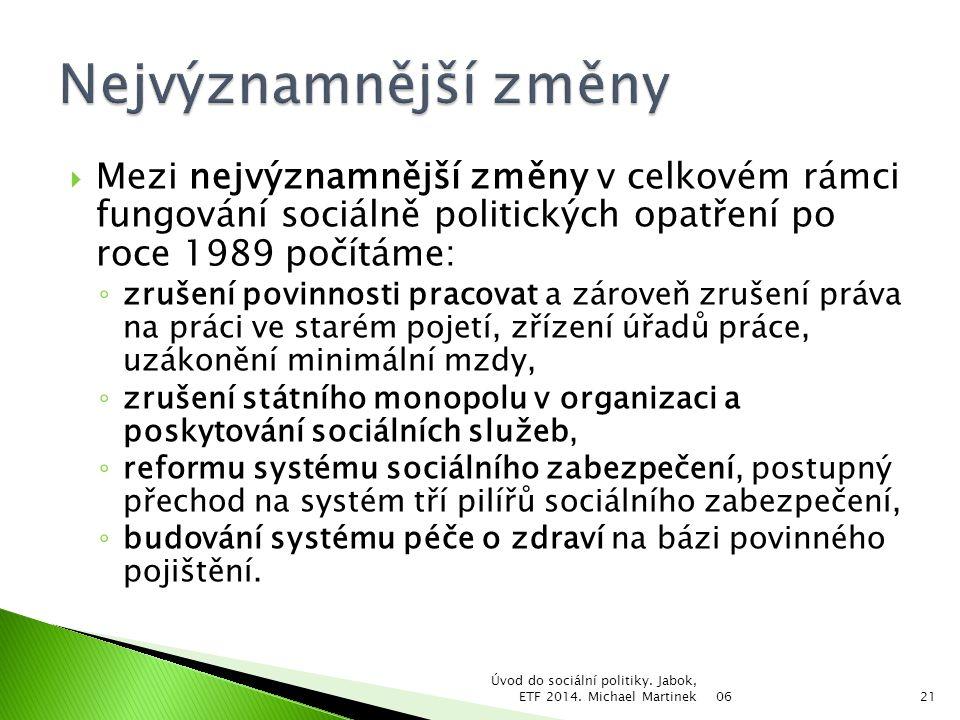 Nejvýznamnější změny Mezi nejvýznamnější změny v celkovém rámci fungování sociálně politických opatření po roce 1989 počítáme: