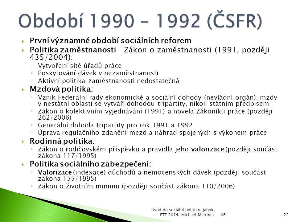 Období 1990 – 1992 (ČSFR) První významné období sociálních reforem