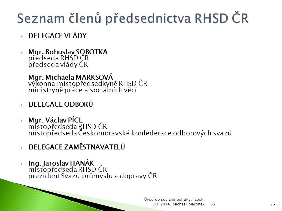Seznam členů předsednictva RHSD ČR