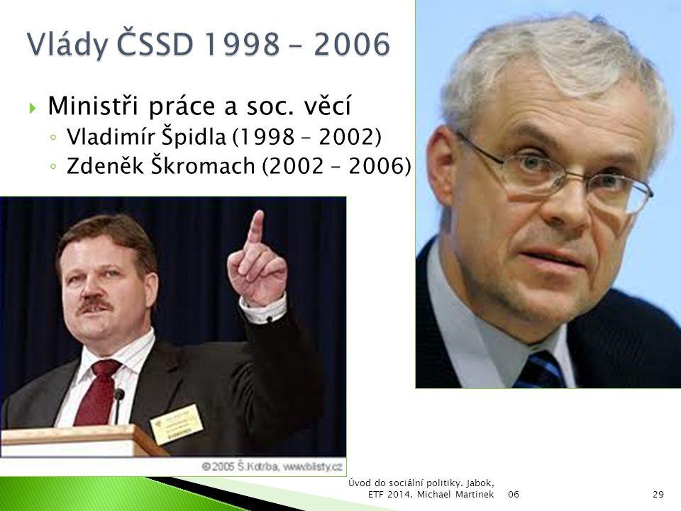 Vlády ČSSD 1998 – 2006 Ministři práce a soc. věcí