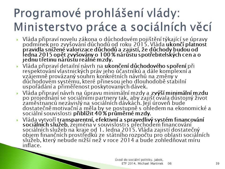 Programové prohlášení vlády: Ministerstvo práce a sociálních věcí