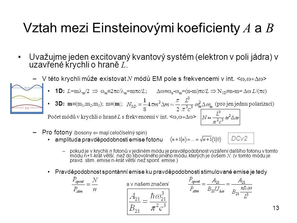 Vztah mezi Einsteinovými koeficienty A a B