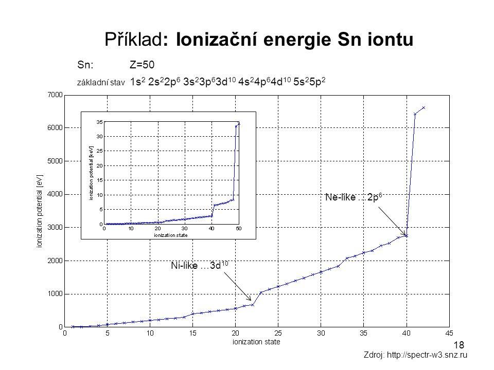 Příklad: Ionizační energie Sn iontu