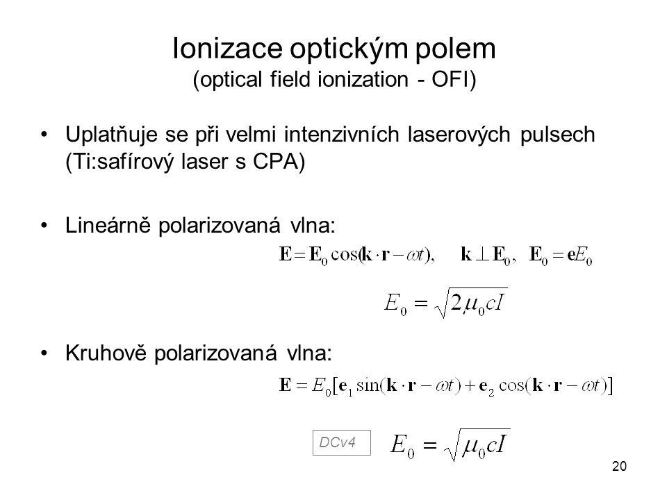 Ionizace optickým polem (optical field ionization - OFI)