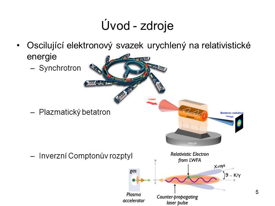 Úvod - zdroje Oscilující elektronový svazek urychlený na relativistické energie. Synchrotron. Plazmatický betatron.
