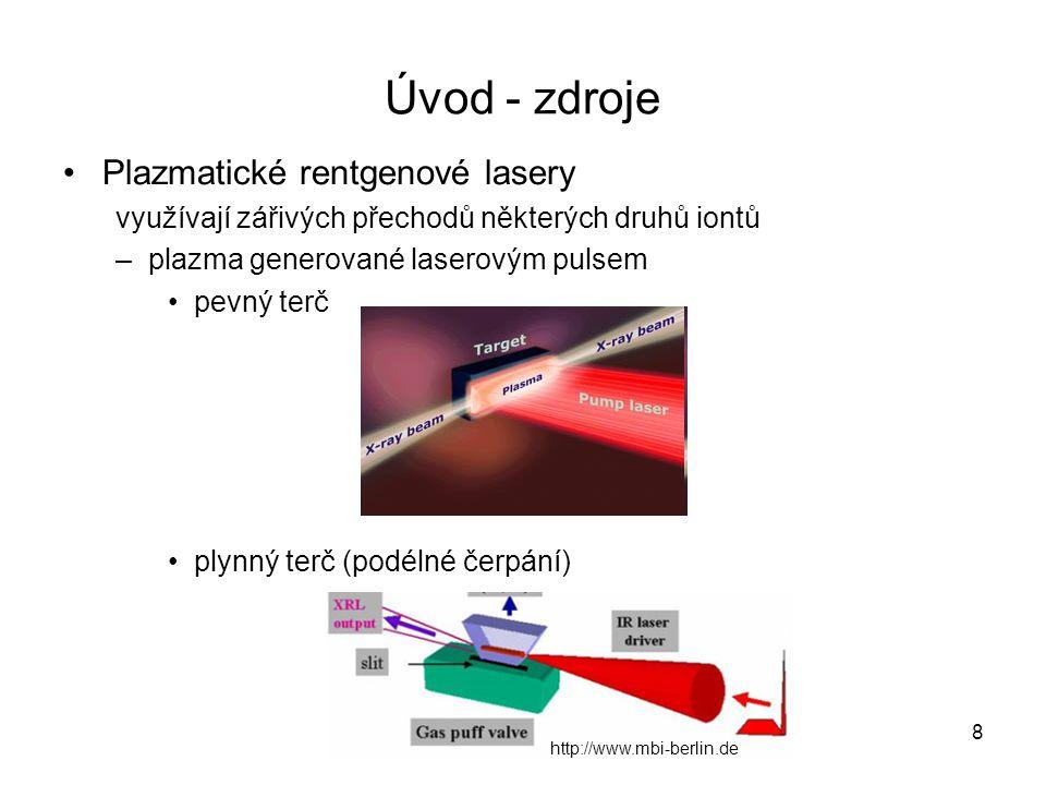 Úvod - zdroje Plazmatické rentgenové lasery